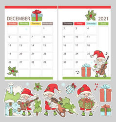 Planner december stickers 2021 with santa vector
