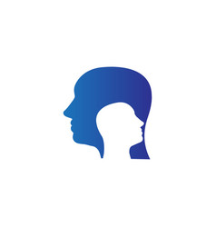 Psychiatrist head inside a head logo icon vector