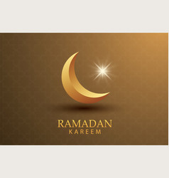 Ramadan kareem greeting card paper art gold vector