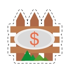 Real estate fence wooden price dollar cut line vector