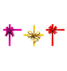realistic gift bow cross ribbon with bow vector image