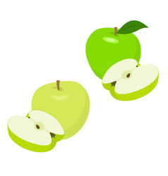ripe green apple fruit with apple half and apple vector image