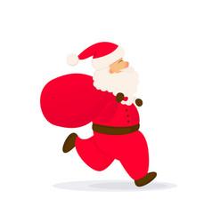santa claus with bag running santa vector image