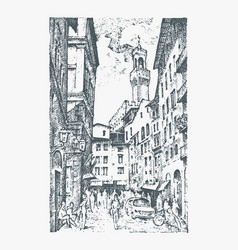 Scene streets in european town florence in italy vector