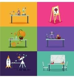 School class room Cartoon backgrounds for vector