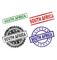 scratched textured south africa stamp seals vector image