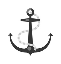 sea ship anchor with rope icon flat vector image