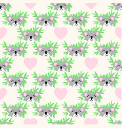 seamless pattern with cute koalas hearts vector image