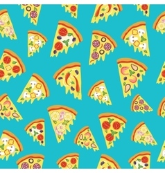 Seamless pattern with slices of pizza vector