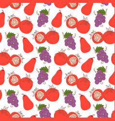 seamless pattern with tomatoes grapes guava on a vector image