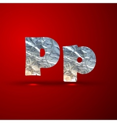 Set aluminum or silver foil letters letter p vector