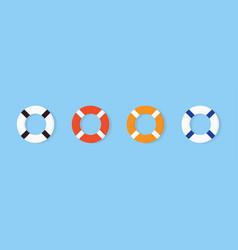 set colorful lifebuoy icon equipment vector image
