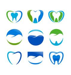 set dental care symbol design vector image