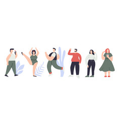 set man and woman different height figure type vector image