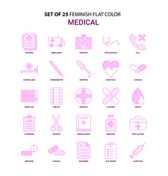 set of 25 feminish medical flat color pink icon vector image