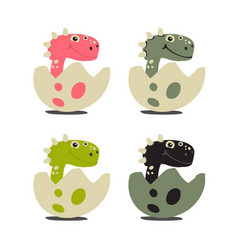 set of cute dinosaurs vector image