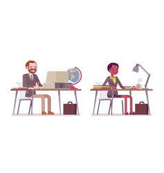 Set of male and female teacher sitting at the desk vector