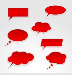 set various red speech bubbles vector image