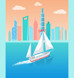 ship with white canvas sailing in deep waters vector image