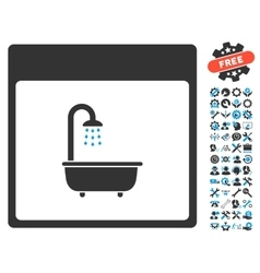 Shower Bath Calendar Page Icon With Bonus vector