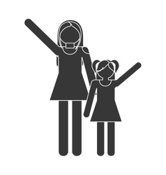 silhouette family mother and daughter funny vector image