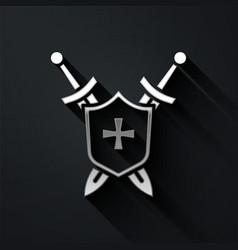 Silver medieval shield with crossed swords icon vector