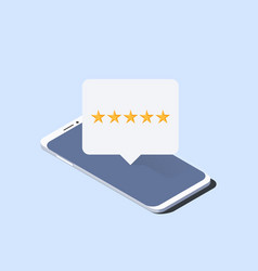 smartphone and push notification with five stars vector image