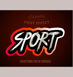 Sport text editable font effect vector