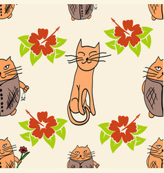 stylish cats pattern vector image