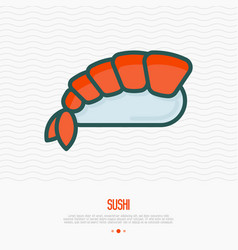 Sushi with shrimp thin line icon vector