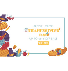 Thanksgiving day promotional banner with vector