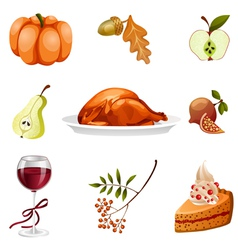 thanksgiving elements isolated vector image vector image