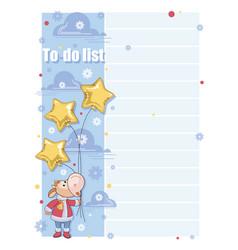to do list santa claus cartoon calf with star vector image
