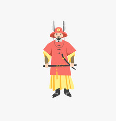 traditional gwanghwamun palace gate security guard vector image