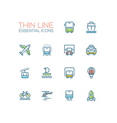 transport - modern single thin line icons vector image