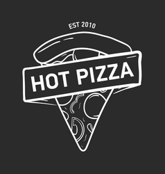 trendy logo with pizza slice and ribbon tape or vector image