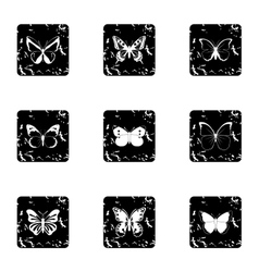 Types of butterflies icons set grunge style vector