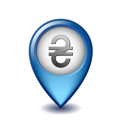 ukrainian hryvnia symbol on mapping marker vector image