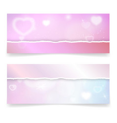 valentine day banner template with hearts and vector image