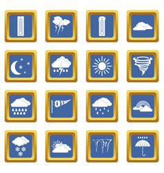 Weather set icons set blue vector