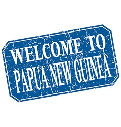 Welcome to Papua New Guinea blue square grunge vector
