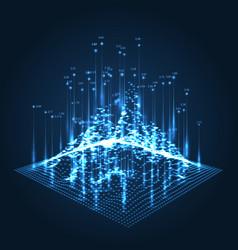 wireframe landscape pattern big data geometric vector image
