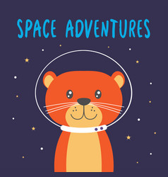 with cute otter in space vector image