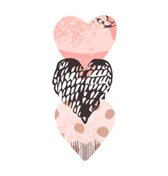 with hand-drawn heart shepe vector image