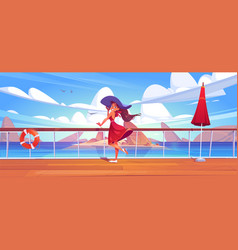 Woman on cruise liner deck or quay on seascape vector