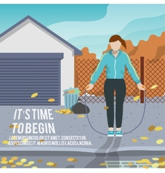 Woman with jump rope fitness poster vector image