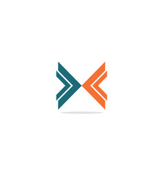 x initial shape colored logo vector image