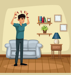 background living room home with headache sickness vector image