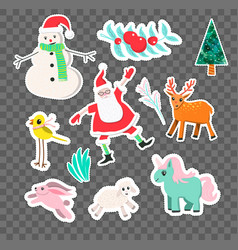 cartoon style christmas stickers vector image