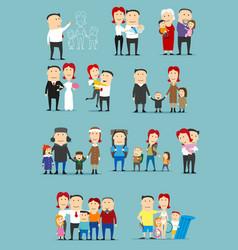 family activity cartoon character set design vector image